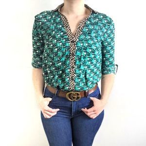 ANTHRO MAEVE Casia Green Button Down Blouse